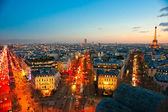 View from Arc de triomphe, Paris with the Eiffel tower — Stock Photo