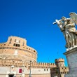 Castel Sant'angelo and Bernini's statue on the bridge, Rome, Italy. - Stock Photo