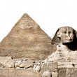 The Sphinx and the great pyramid, Giza, Egypt. Isolated on white - Photo