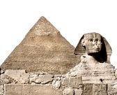 La esfinge y la gran pirámide, giza, egipto. aislado en blanco — Foto de Stock