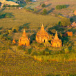 View from the hot air balloon at sunrise,  Bagan, Myanmar - Stock Photo