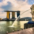 The Merlion fountain and Marina Bay Sands, Singapore. — Stock Photo #24087287