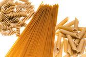 Whole wheat Pasta isolated on white. — Stock Photo