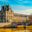 Louvre Museum and Pont ses arts, Paris - France — Foto Stock