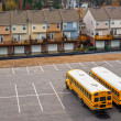 Stock Photo: Schoolbuses in a parking, Atlanta, Georgia, USA.