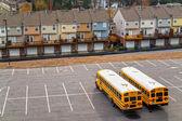 Schoolbuses in a parking, Atlanta, Georgia, USA. — Stock Photo