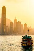 Hong Kong Harbour at sunset. — Stock Photo