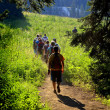 Stock Photo: Girls Hiking on Trail