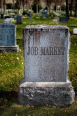 Gravestone for Job Market — Stock Photo
