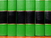Green Books on Shelf — Stock Photo