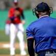 Baseball Pitcher and Umpire - Stock Photo