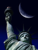 Statue of Liberty with Large Moon — Stock Photo