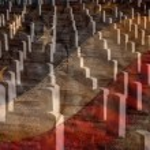 Arlington Cemetery with Faded Flag — Stock Photo