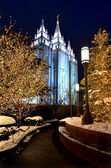 Salt lake city tempel vierkante Kerstverlichting — Stockfoto