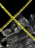 Fire Damage and Yellow Caution Tape — Stock Photo
