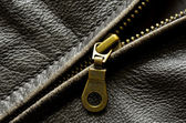 Leather Jacket Zipper — Stock Photo