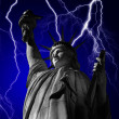 Statue of Liberty and Lightning — Foto Stock