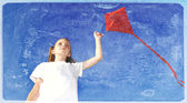 Vintage Photo of Girl Flying a Kite — Stock Photo