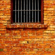 Old Brick Wall with Barred Windows — Stock Photo