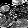 Stock Photo: Silver Coins and Bars
