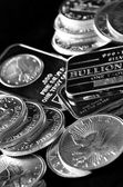 Silver Coins and Bars — Stock Photo