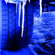 Tire Driving in Snow and Ice — Stock Photo