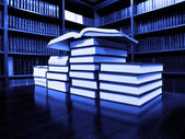 Books on Table in Library — Stock Photo