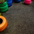 Colorful Tires for Plants — Stock Photo