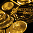Gold Coins and Bullion for Wealth — Stock Photo