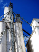 Tall White Grain Storage with Blue Sky — Stock Photo