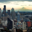 Stock Photo: Seattle Skyline with Mount Ranier