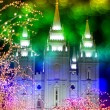 Temple and Christmas Lights — Stock Photo