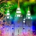 Temple and Christmas Lights — Stock Photo