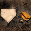 Stock Photo: Home Plate with Glove and Baseball