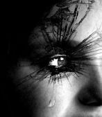 Girl Crying with Tear and Textured Eyelashes — Stock Photo