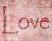 Papel con textura de la palabra amor — Foto de Stock