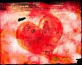 Valentinky srdce na starý papír — Stock fotografie