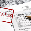 Stock Photo: Taxes Forms and Money