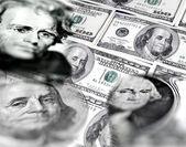 Stock Market Graphs and Money — Stock Photo