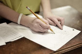 Homework Writing on Paper with Pencil — Stok fotoğraf