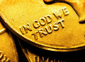 Gold Coins and Bullion In God We Trust — Stock Photo