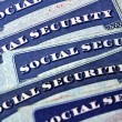 Social Security Cards Representing Finances and Retirement — Stock Photo