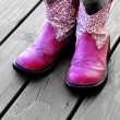 Pink Cowboy Boots for a Girl — Stock Photo