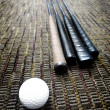 Golf Clubs and Ball in Office on Carpet — Stock Photo #42967681