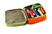 Tin Bin of Colored Pencils Representing Art — Stock Photo