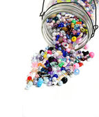 Jar of Beads for Crafts Jewelry — Stock Photo
