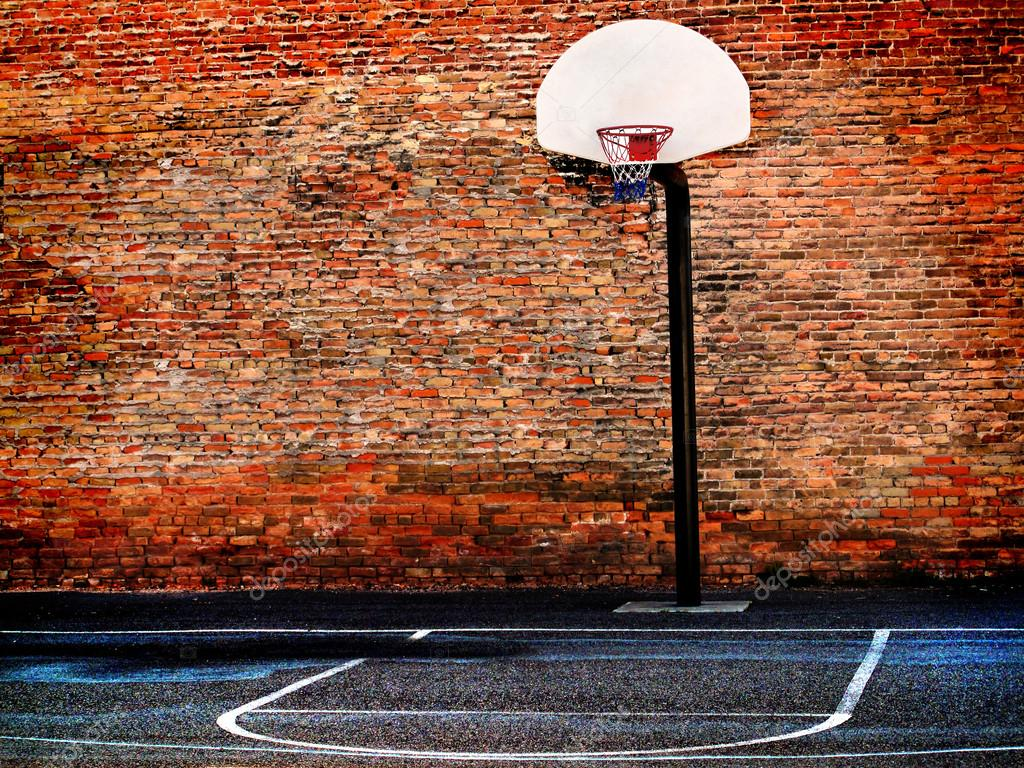 Urban street basketball court and hoop stock photo for Basketball mural wallpaper