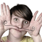 Young Girl Silly Face Mustache — Stock Photo