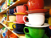 Coffe Mugs on Store Shelf — Stock Photo