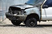 Burned Truck Wreck on Roadside — 图库照片